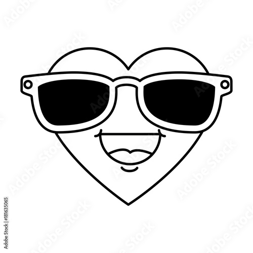 cute heart with sunglasses kawaii character vector illustration design - 181635065
