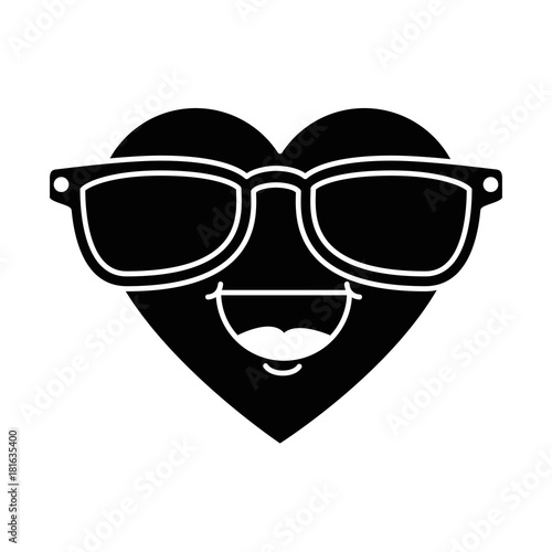 cute heart with sunglasses kawaii character vector illustration design - 181635400