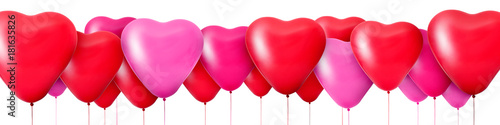3D Rendering Red balloons in the shape of hearts