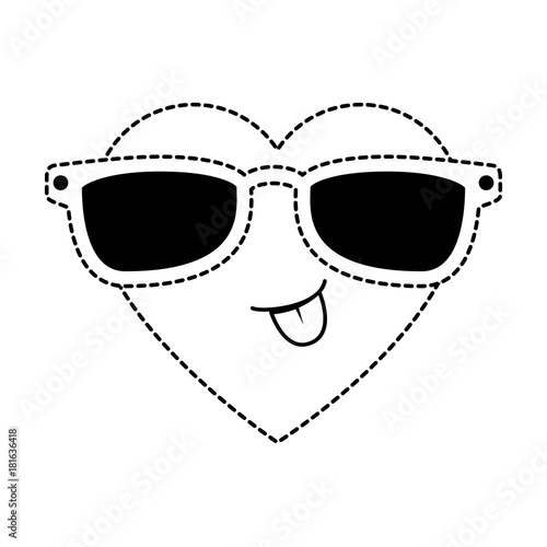 cute heart with sunglasses kawaii character vector illustration design - 181636418