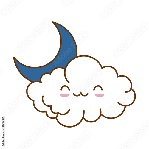 cute cloud with moon kawaii character vector illustration design - 181636812
