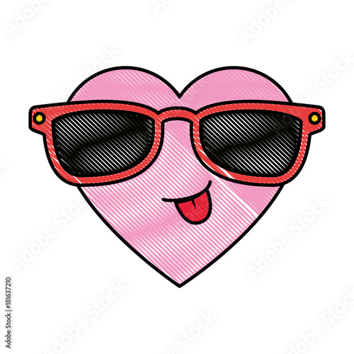 cute heart with sunglasses kawaii character vector illustration design - 181637210