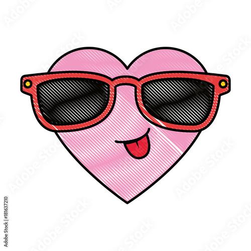 cute heart with sunglasses kawaii character vector illustration design - 181637210