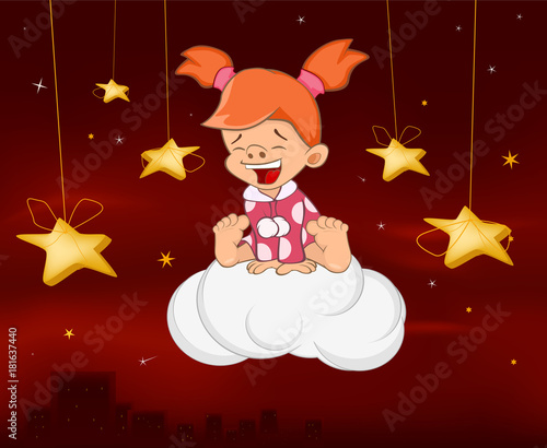 Papiers peints Chambre bébé Illustration of a Cute Angel. Cartoon Character