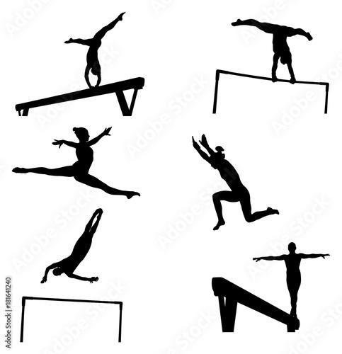 Fototapeta set female athletes gymnasts in artistic gymnastics silhouette
