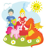 Images of a knight, a princess, a unicorn, a dragon.