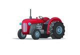 Red cartoon tractor isolated on white background. Heavy agricultural machinery for field work