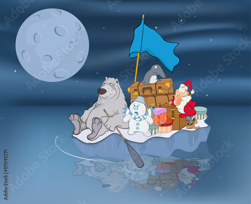 Papiers peints Chambre bébé Illustration of Adventures of Santa Claus and his friends