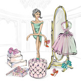 Glamour fashion girl chooses beauty high heel shoes in boutique or closet. Shoes shopping, luxury fashion woman, glitter mirror vector illustration clipart art - 181646474