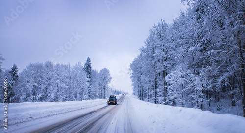 Fotobehang Natuur Christmas winter landscape, spruce and pine trees covered in snow on a mountain road