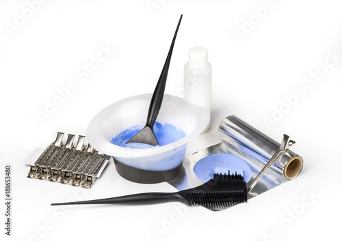 Hairdressing tools on white