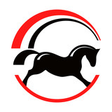 Horse pony equestrian sport silhouette logo. Rocking horse with rainbow. Vector red black round emblem.