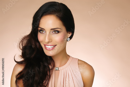 Woman With Beautiful Brown Hair Poster