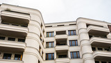 white and curved apartment building for real estate - 181657216