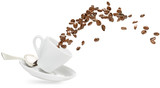 coffee beans spilling out of a cup isolated on white - 181657887