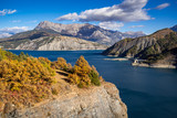 Serre Poncon Lake in Autumn with view on the Grand Morgon Peak. Hautes-Alpes, Southern French Alps, France - 181659888