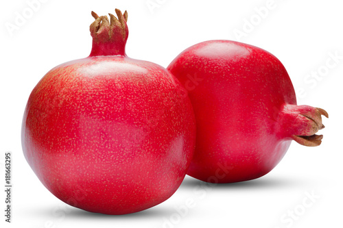 Pomegranate isolated on white. clipping path