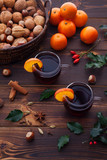 Christmas mulled wine with spices wooden background - 181669405