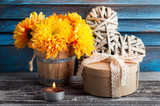 Yellow chrysanthemum in rustic interior - 181672094