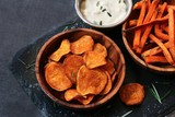 Homemade Sweet potato chips and fries served with dips / Thanksgiving food - 181672687