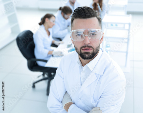 scientist microbiologist in the laboratory background.