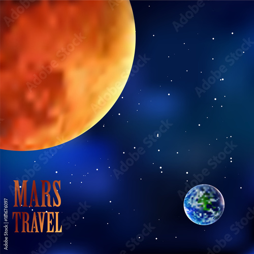 Mars and Earth Sky Background, Vector, Illustration, Eps File