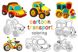 set of isolated cartoon transport with eyes part 2 - vector illustration, eps