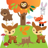 Forest animals vector cartoon illustration