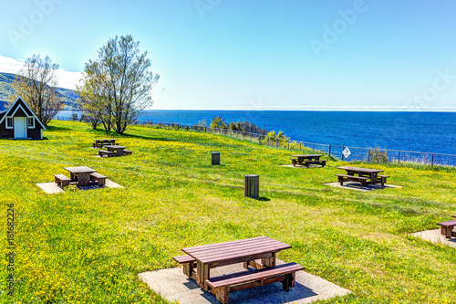 View of Saint Lawrence river with rest area in the Gaspe Peninsula, Quebec, Canada, Gaspesie region