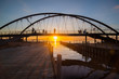 The beautiful sunset over the bridge in Frankston beach one of the suburbs in Melbourne, Australia.