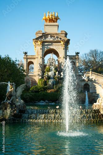 Fotobehang Barcelona Fountain cascade in Citadel park on sunset, Barcelona, Spain