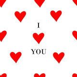 I love you inscription fashion seamless pattern print with red heart. Seamlessly wallpaper valentine with hearts and superscription