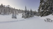 Panoramic Snowy Winter Landscape on Groomed Cross Country Skiing Trails in Kananaskis Country near Banff National Park Rocky Mountains Alberta Canada