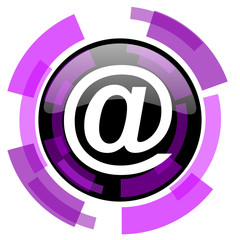 Email pink violet modern design vector web and smartphone icon. Round button in eps 10 isolated on white background.