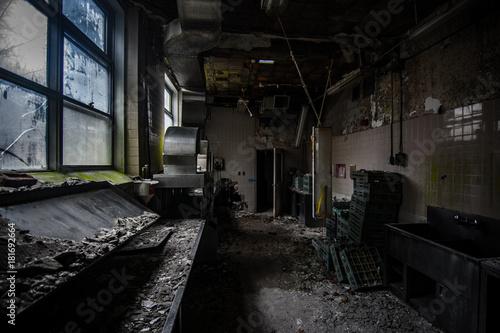 Foto op Canvas Oude verlaten gebouwen Abandoned Kitchen
