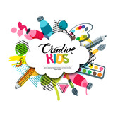 Fototapety Kids art craft, education, creativity class concept. Vector banner, poster with white cloud shape paper background, hand drawn letters, pencil, brush, watercolor paints. Doodle illustration.