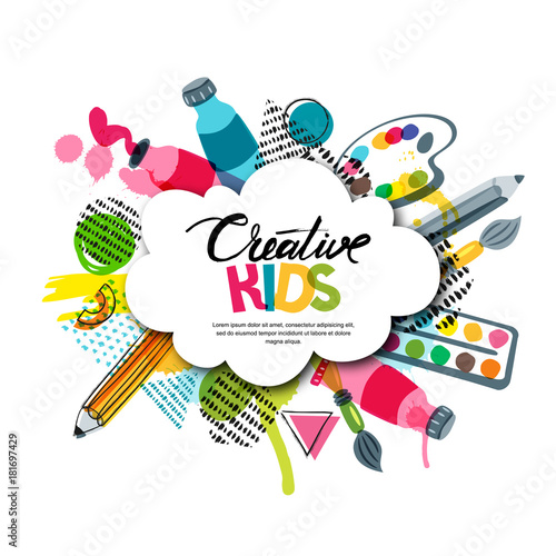 Kids art craft, education, creativity class concept. Vector banner, poster with white cloud shape paper background, hand drawn letters, pencil, brush, watercolor paints. Doodle illustration. - 181697429