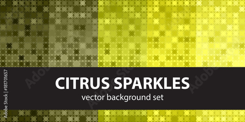 Abstract pattern set Citrus Sparkles. Vector seamless backgrounds