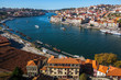 View of the old downtown of Porto and Douro river from Vila Nova de Gaia, Portugal.