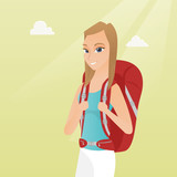 Young caucasian white traveler woman standing with a backpack and enjoying her recreation time. Happy smiling woman during summer trip. Vector cartoon illustration. Square layout. - 181716411