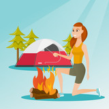 Young caucasian white woman with a wooden stick in his hand sitting near the campfire and enjoying the atmosphere. Smiling woman making the campfire. Vector cartoon illustration. Square layout. - 181716464