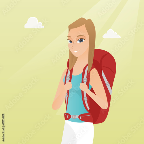 Young caucasian white traveler woman standing with a backpack and enjoying her recreation time. Happy smiling woman during summer trip. Vector cartoon illustration. Square layout.