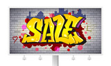 Sale, lettering in hip-hop, graffiti style. Urban ad horizontal billboard. Street art on the brick wall. Advertising poster about discounts. Stylish design of banner with your offer. 3D illustration. - 181731649
