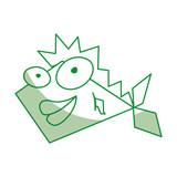 shadow green funny fish cartoon vector graphic design - 181733016