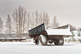 Old Trailers After Snowfall - 181734425