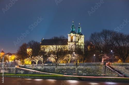 Church on the Skalka in the night in Krakow, Poland