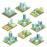 Fototapety Modern downtown isometric 3D set