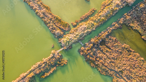Foto op Canvas Pistache Amazing aerial drone image.Abstract nature in the water at the salt marshes of Lefkimmi.oday the Salt marshes of Lefkimmi are one of the most important wetlands of Corfu,Greece.