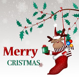 Christmas background with Christmas deer cartoon ,snow, Christmas decorations and snow fir branches with red berries.