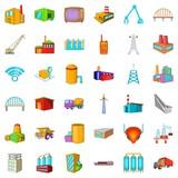 Big building icons set, cartoon style - 181741082